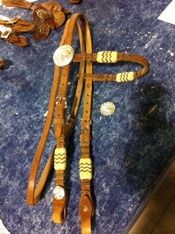Rawhide with Silver Browband Headstall