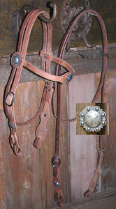 Buckaroo Old West Berry-Concha Style Headstall & Rein Set