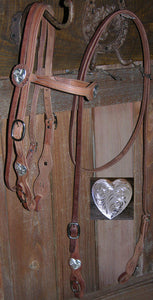 Buckaroo Old West Heart Concha Style Headstall & Rein Set