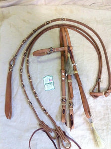 Bridle and Rein with Rawhide Set