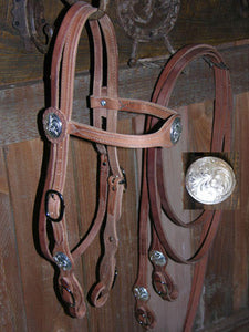 Buckaroo Old West Silver-Conchas Style Bridle Set