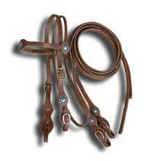 Buckaroo Style Harness Headstall and Rein Set