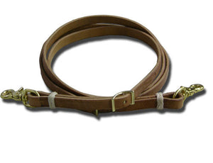 Leather Roping Rein with Rawhide Loops