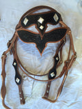 Majestic Tooled Brown and Black Leather Headstall