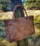 Leather Double Handle Bag Western Style