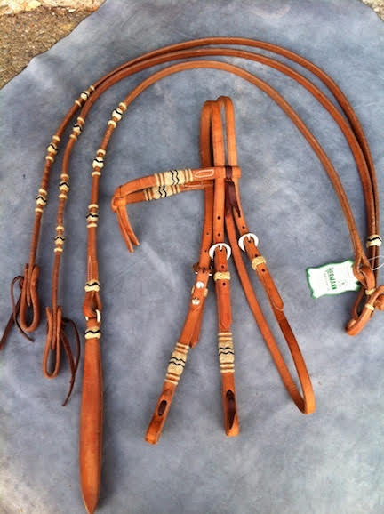 A Harness Horse Headstall Rawhide Bridle Set