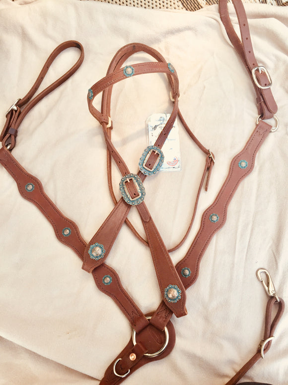 Turquoise Copper Tear Drop Bridle Set