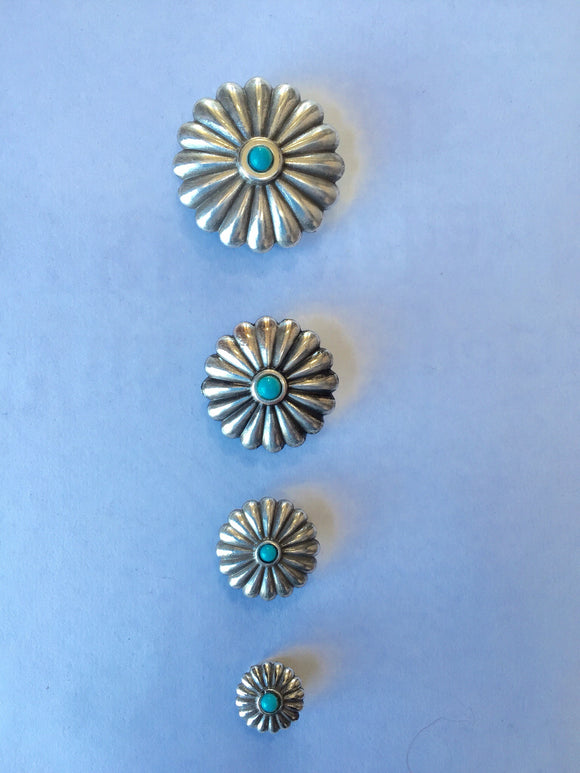 Turquoise Antique Silver Conchas