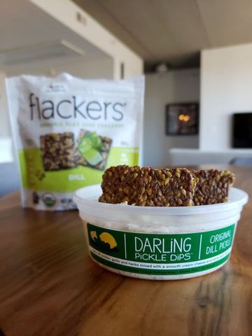 Darling Pickle Dips with Dill Flackers
