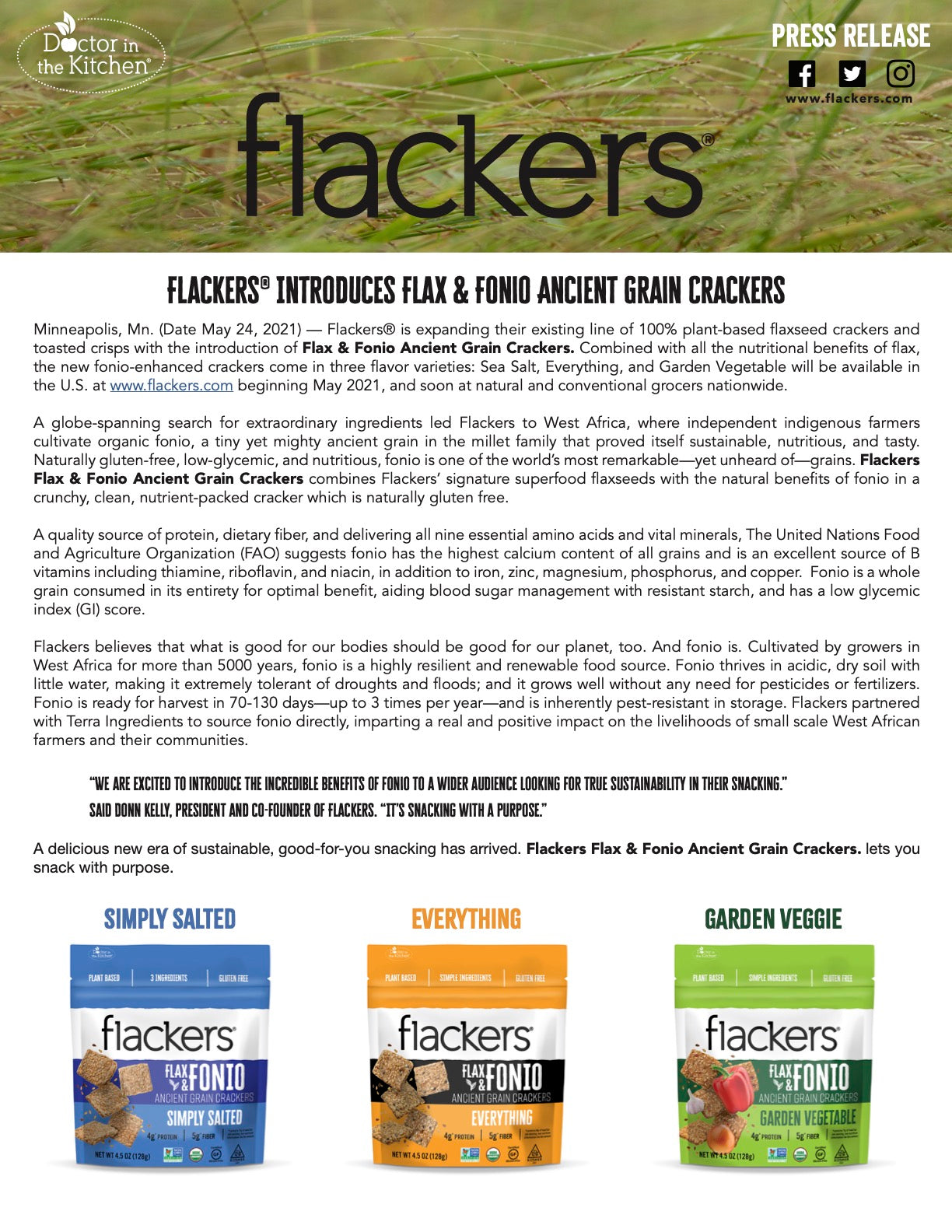 Flackers Flax & Fonio Ancient Grain Crackers press release page 1