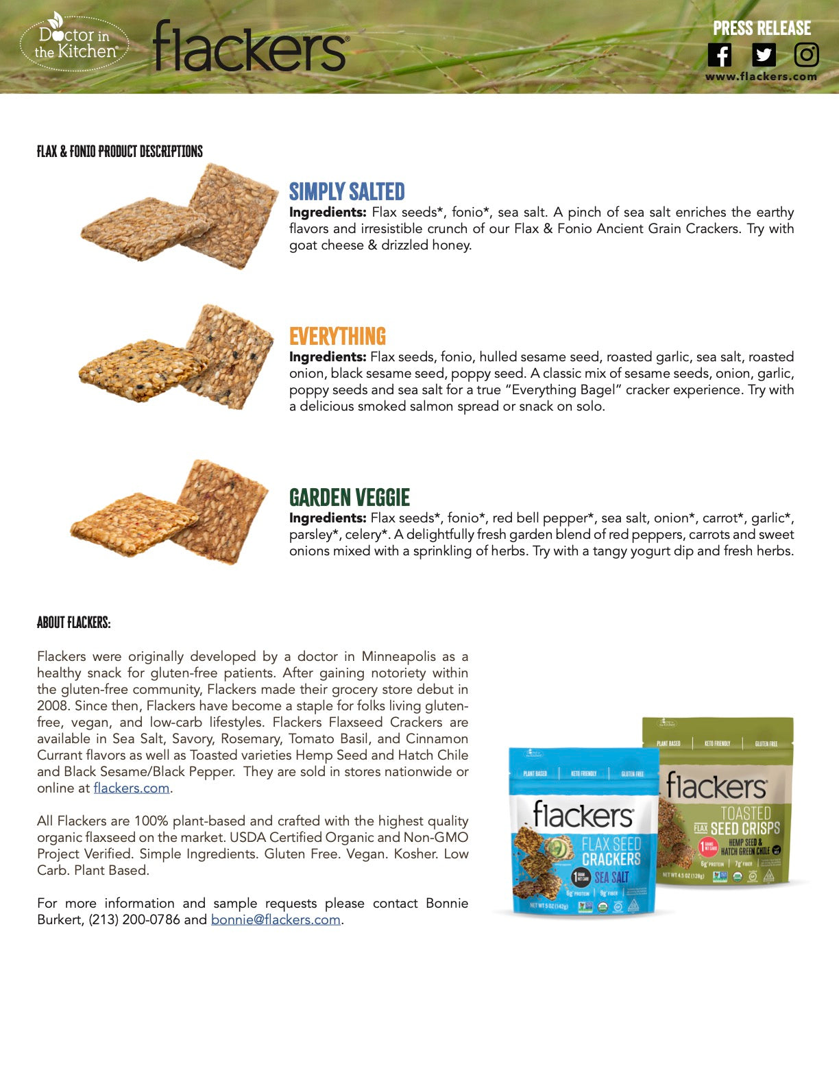 Flackers Flax & Fonio Ancient Grain Crackers press release page 2