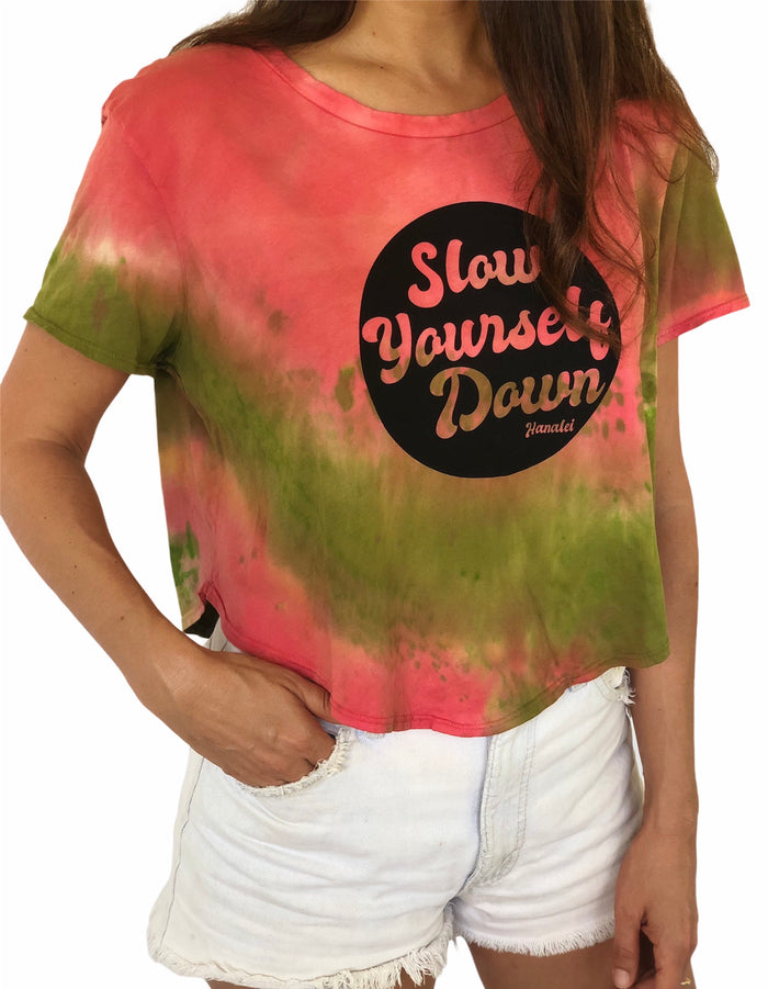 RETRO CIRCLE HALF MOON CROP TIE DYE