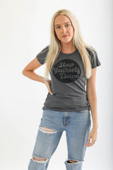 WOMENS SLIM RETRO CIRCLE TEE