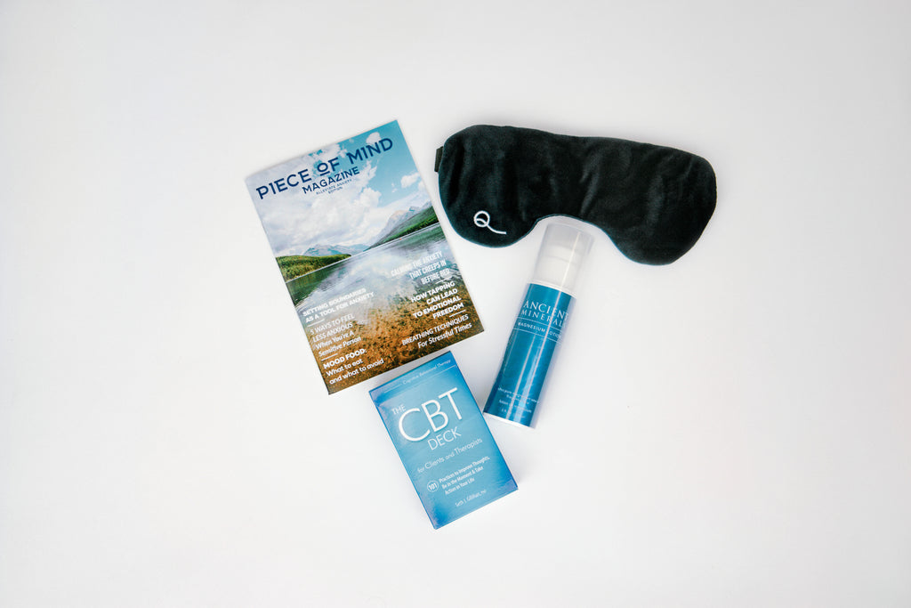 soothe brogliebox care package kit includes cognitive behavioral therapy card deck written by psychiatrist seth gillihan, ancient minerals unscented magnesium lotion, weighted sleep eye mask, alleviate anxiety piece of mind magazine