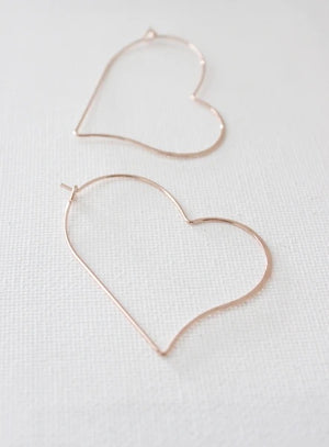 Hammered Heart Silhouette Earrings