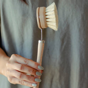 White Teakwood and Agave Dish Washing Brush