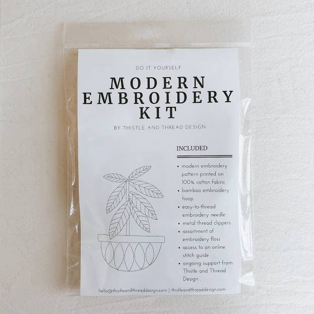 Packaged modern embroidery kit listing contents