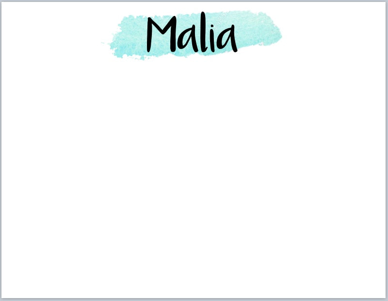 Aqua Watercolor Stroke Notecards