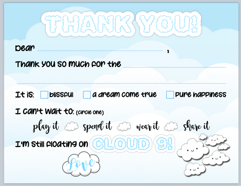 Cloud 9 Blank You Notes