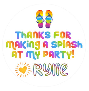 Flip Flop Splash Favor Stickers