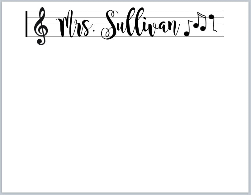 Music Teacher Notecards