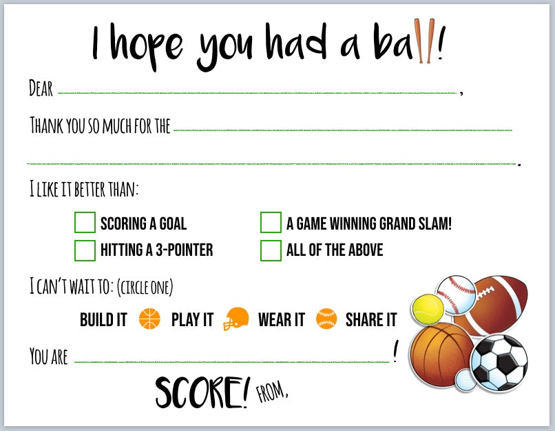 "Play Ball! Sports ""Blank You"" Notes"
