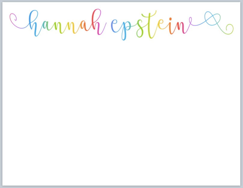 Rainbow Ombré Script Notecards