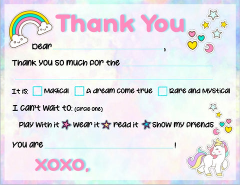 "Rainbow Unicorn ""Blank You"" Notes"