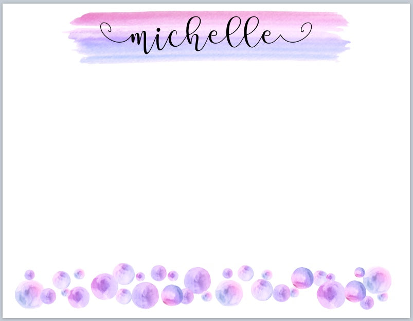 Purple Watercolor Dots Notecards