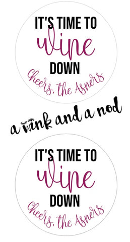 Wine Down Wine Bottle Stickers