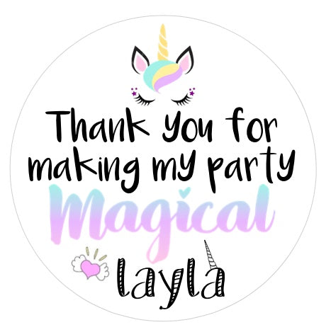 Magical Unicorn Favor Stickers