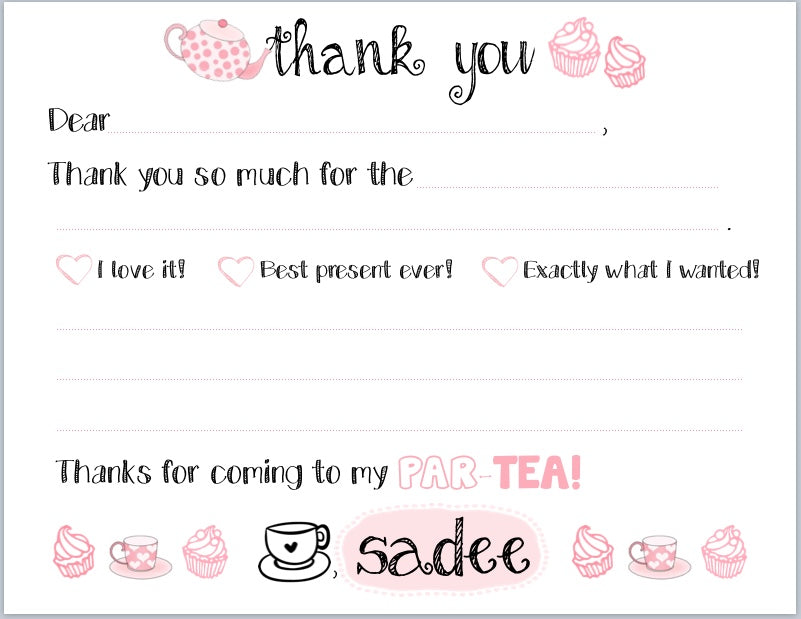 "Tea-riffic ParTEA ""Blank You"" Notes"
