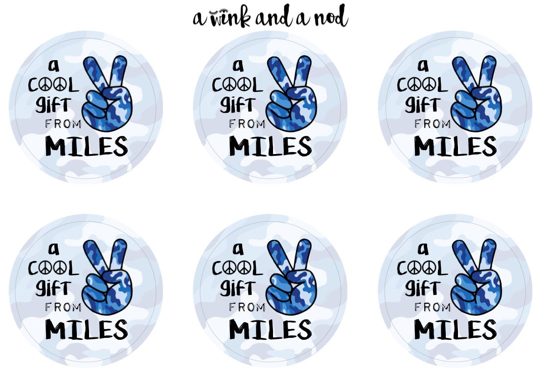 Blue Camo Peace Gift Stickers