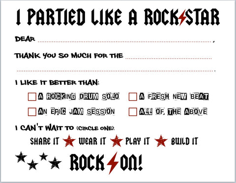 "Rock Star ""Blank You"" Notes"
