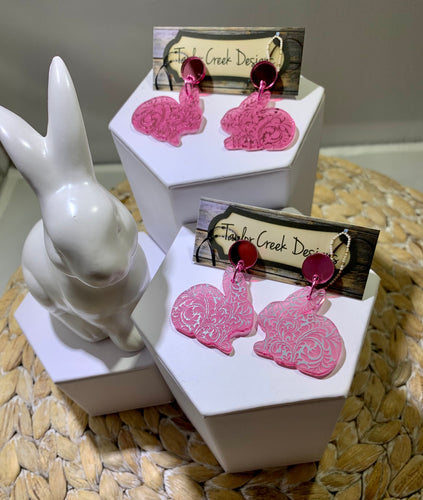 Pink Scrolled Bunny Earrings