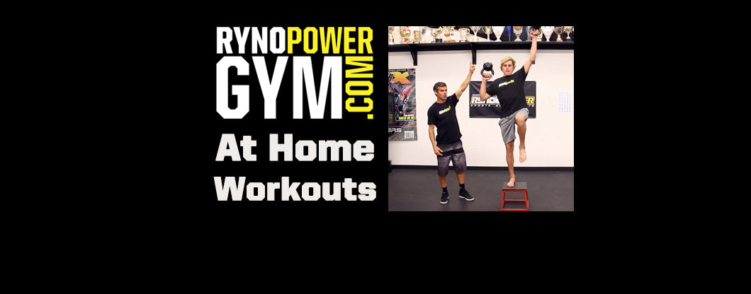 Ryno Power Gym at Home Workouts w/ Ryan Hughes! ALTERNATE ARM & LEG STEP UP W/ SHOULDER PRESS