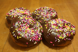 Chocolate Iced Sprinkled Cake Donut