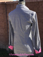 black and white gingham ladies western ranchwear shirt