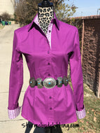 Purple Cotton Muybridge Ladies Riding Show Ranchwear Shirt