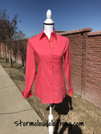 Peachy Pink Long Sleeve Ladies Western Shirt with Horse Shoe Contrast
