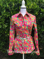 Wild Rose Cotton Shirt with Turquoise Background