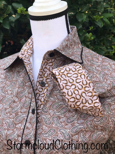 Brown and Charcoal Paisley with Horseshoe Contrast