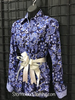 New Navy Paisley Ladies Show Shirt