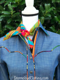 Chambray with Serape Piping and Contrast