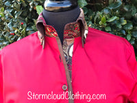 Red with Chocolate Double Collar w Silk Paisley