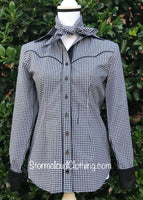 Black & White Check Gingham with Black Contrast
