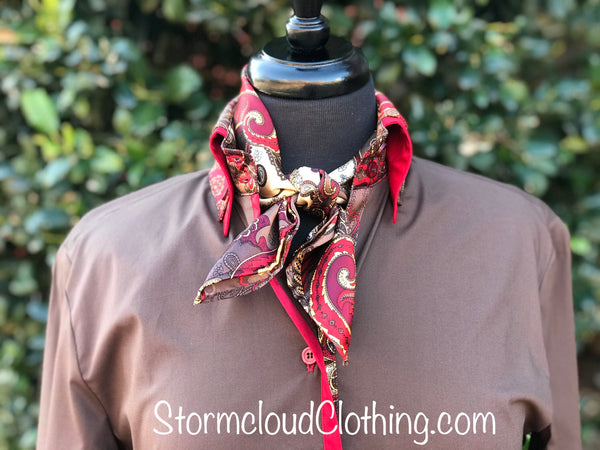 Chocolate with Red Double Collar w Silk Paisley