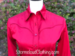 Deep Red 100% Cotton Sateen Ladies Western Show Shirt