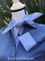 Sky Pique Gingham Contrast Ladies Western Shirt