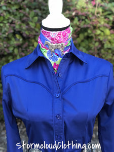 Royal Blue 100% Cotton Sateen Ladies Western Show Shirt